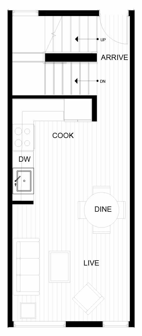 Second Floor Plan of 8547C Midvale Ave N, One of the Fattorini Flats Townhomes in Licton Springs by Isola Homes