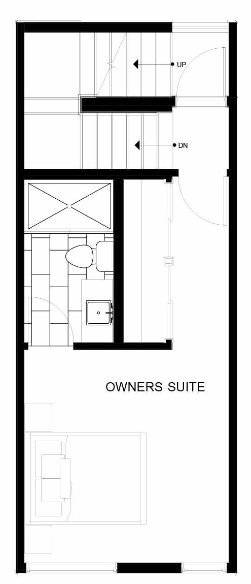 Fourth Floor Plan of 8547C Midvale Ave N, One of the Fattorini Flats Townhomes in Licton Springs by Isola Homes