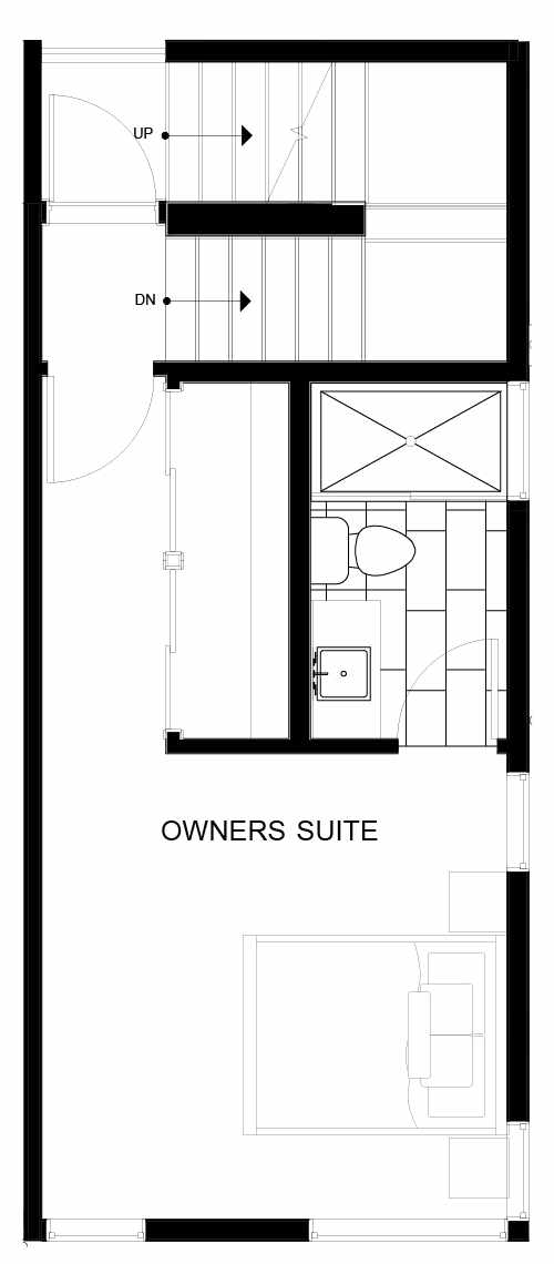 Fourth Floor Plan of 8547D Midvale Ave N, One of the Fattorini Flats Townhomes in Licton Springs by Isola Homes