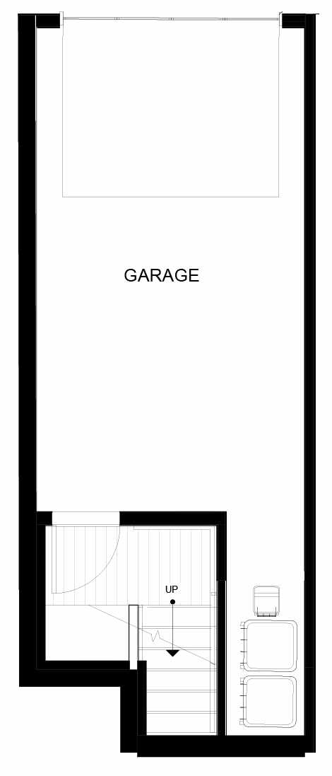 First Floor Plan of 8549A Midvale Ave N, One of the Fattorini Flats Townhomes in Licton Springs by Isola Homes