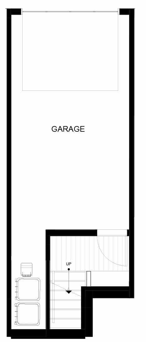 First Floor Plan of 8549B Midvale Ave N, One of the Fattorini Flats Townhomes in Licton Springs by Isola Homes