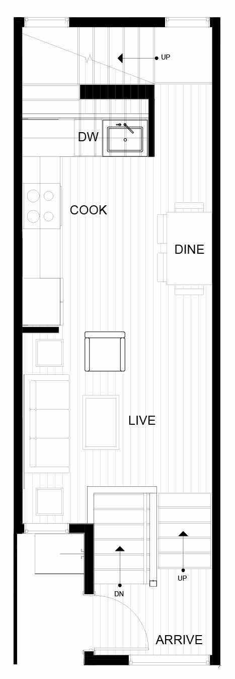 Second Floor Plan of 8549C Midvale Ave N, One of the Fattorini Flats Townhomes in Licton Springs by Isola Homes