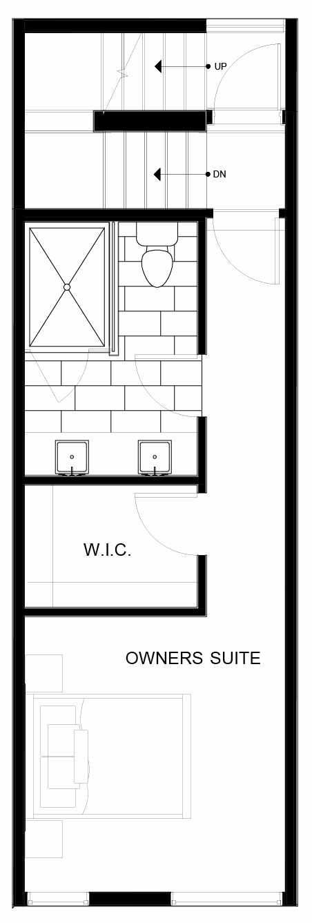 Fourth Floor Plan of 8549C Midvale Ave N, One of the Fattorini Flats Townhomes in Licton Springs by Isola Homes