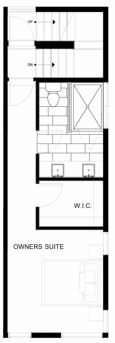 Fourth Floor Plan of 8549D Midvale Ave N, One of the Fattorini Flats Townhomes in Licton Springs by Isola Homes