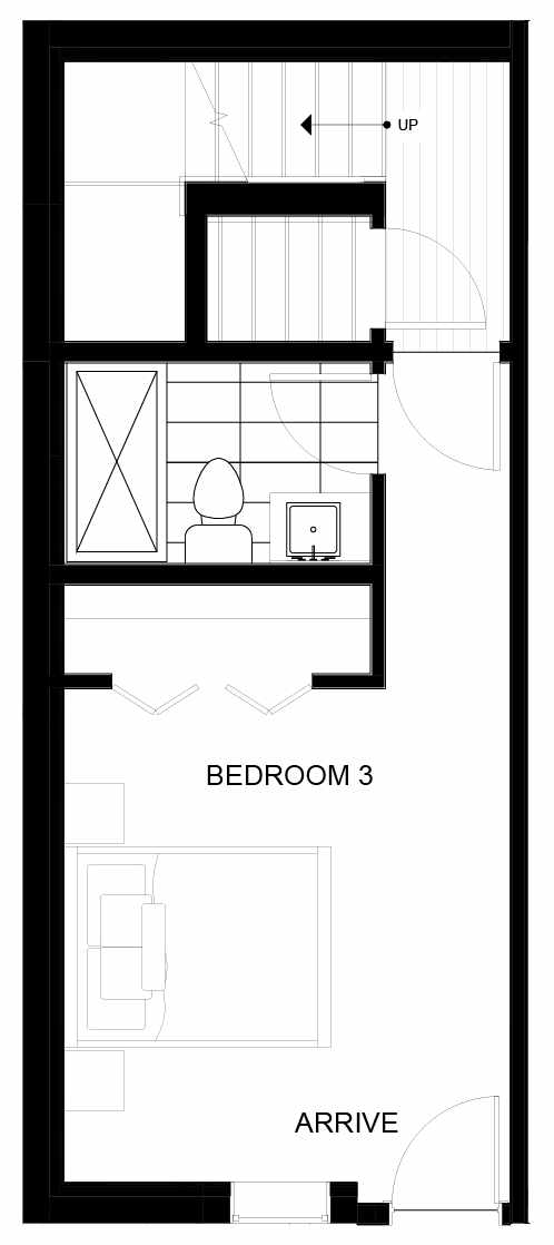 First Floor Plan of 8551A Midvale Ave N, One of the Fattorini Flats North Homes, in Licton Springs by Isola Homes
