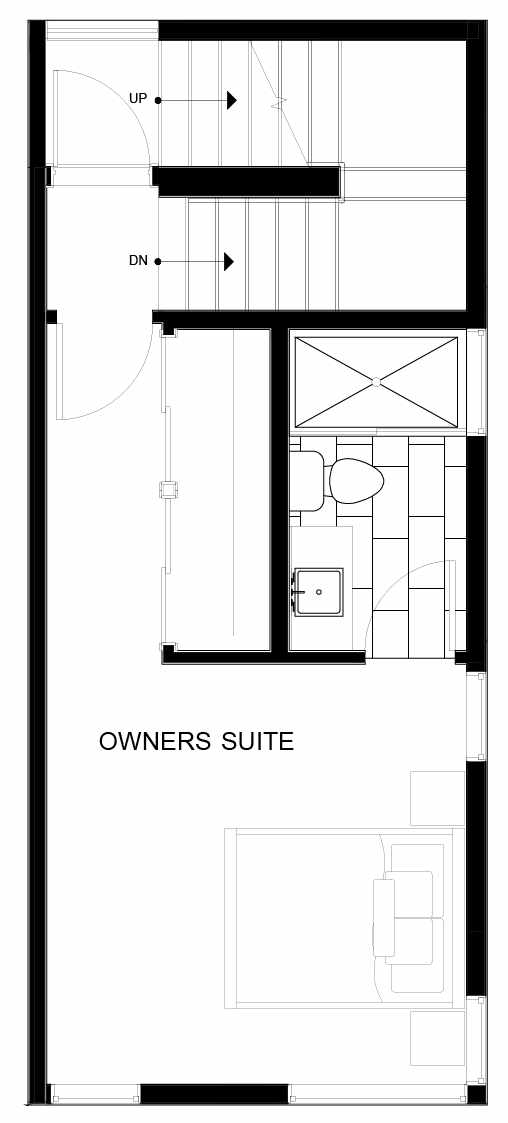 Fourth Floor Plan of 8551D Midvale Ave N, One of the Fattorini Flats North Homes, in Licton Springs by Isola Homes