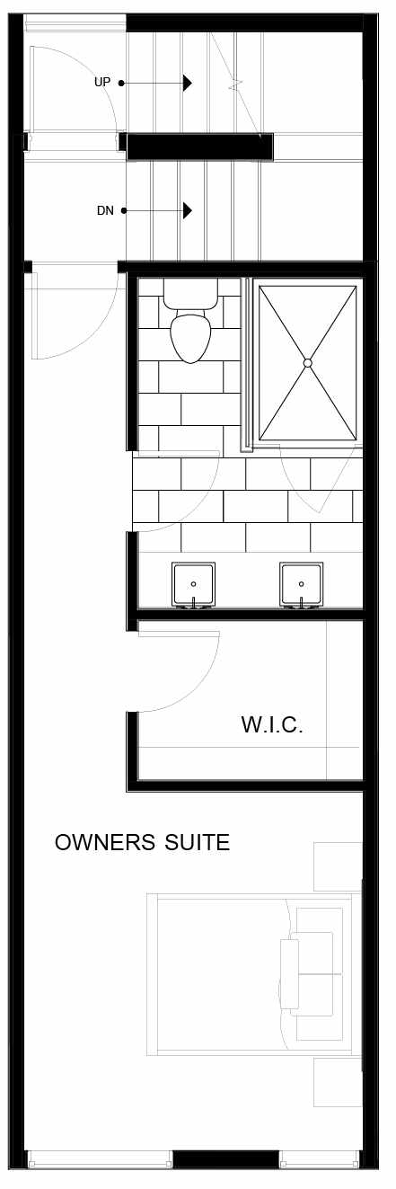 Fourth Floor Plan of 8553B Midvale Ave N, One of the Fattorini Flats North Homes, in Licton Springs by Isola Homes