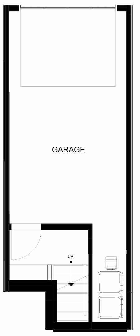 First Floor Plan of 8553C Midvale Ave N, One of the Fattorini Flats North Homes, in Licton Springs by Isola Homes