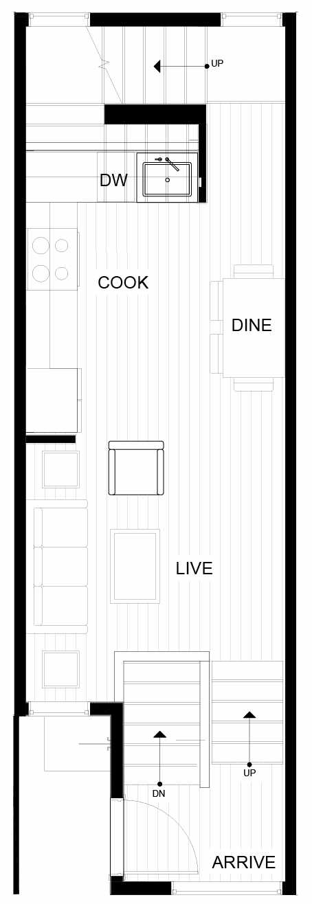 Second Floor Plan of 8553C Midvale Ave N, One of the Fattorini Flats North Homes, in Licton Springs by Isola Homes
