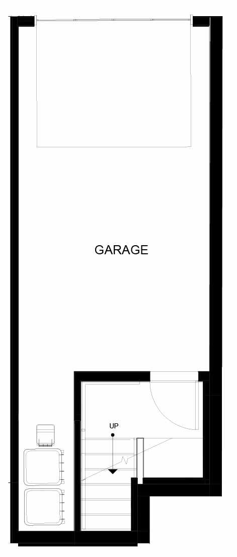 First Floor Plan of 8553D Midvale Ave N, One of the Fattorini Flats North Homes, in Licton Springs by Isola Homes