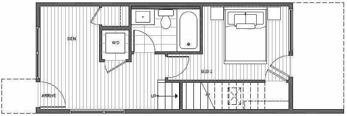 First Floor Plan of 1638A 20th Avenue in Avani Townhomes Located in Capitol Hill Seattle