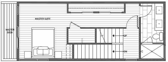 Third Floor Plan of 1638A 20th Avenue in Avani Townhomes Located in Central District Seattle
