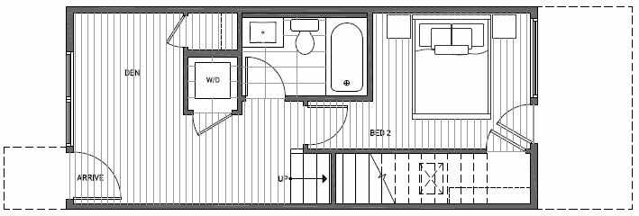First Floor Plan of 1638D 20th Avenue in Avani Townhomes Located in Capitol Hill Seattle