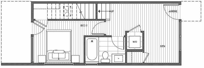 First Floor Plan of 1640A 20th Avenue in Avani Townhomes Located in Central District Seattle