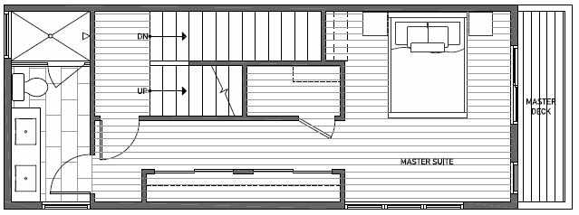 Third Floor Plan of 1640A 20th Avenue in Avani Townhomes Located in Capitol Hill Seattle