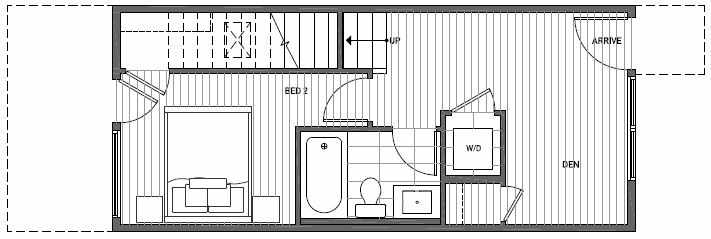 First Floor Plan of 1640D 20th Avenue in Avani Townhomes Located in Capitol Hill Seattle