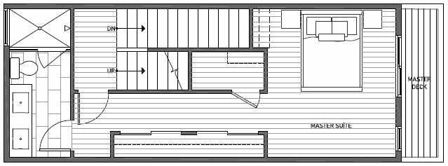 Third Floor Plan of 1640D 20th Avenue in Avani Townhomes Located in Central District Seattle