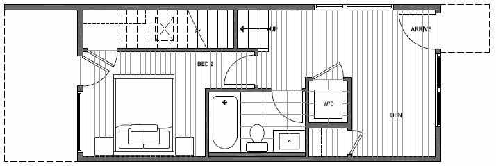 First Floor Plan of 1640E 20th Avenue in Avani Townhomes Located in Capitol Hill Seattle