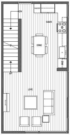 Second Floor Plan of 1644A 20th Avenue in Avani Townhomes Located in Capitol Hill Seattle