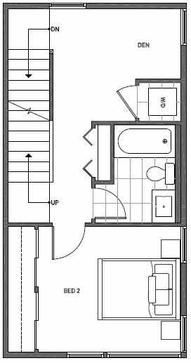 Third Floor Plan of 1644A 20th Avenue in Avani Townhomes Located in Central District Seattle