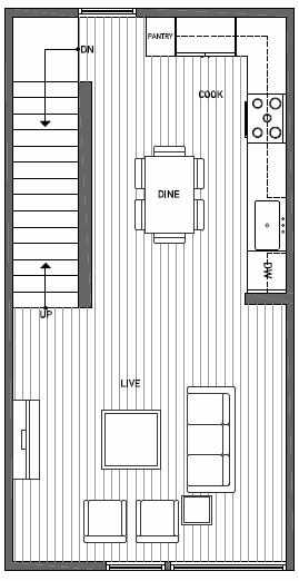 Second Floor Plan of 1644B 20th Avenue in Avani Townhomes Located in Capitol Hill Seattle