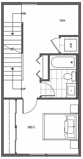 Third Floor Plan of 1644B 20th Avenue in Avani Townhomes Located in Capitol Hill Seattle