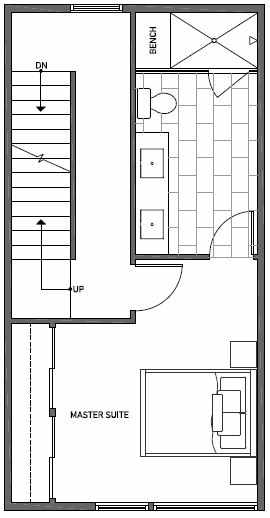 Fourth Floor Plan of 1644C 20th Avenue in Avani Townhomes Located in Capitol Hill Seattle