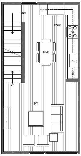 Second Floor Plan of 1644C 20th Avenue in Avani Townhomes Located in Capitol Hill Seattle