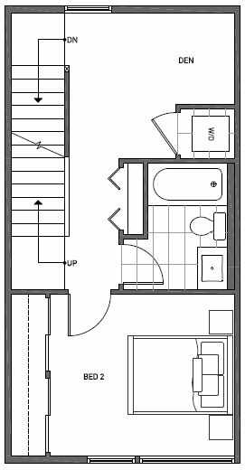 Third Floor Plan of 1644C 20th Avenue in Avani Townhomes Located in Capitol Hill Seattle