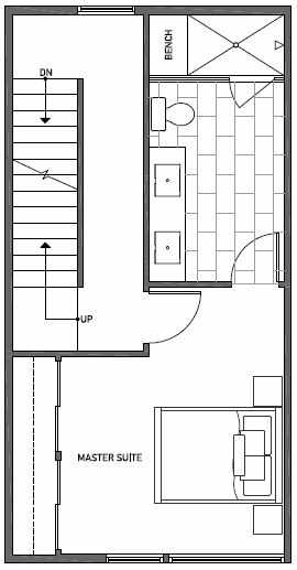 Fourth Floor Plan of 1644D 20th Avenue in Avani Townhomes Located in Central District Seattle
