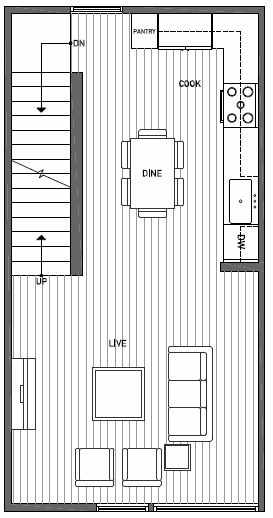 Second Floor Plan of 1644D 20th Avenue in Avani Townhomes Located in Capitol Hill Seattle
