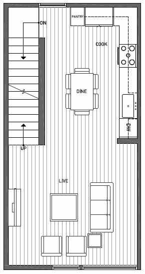 Second Floor Plan of 1644E 20th Avenue in Avani Townhomes Located in Capitol Hill Seattle
