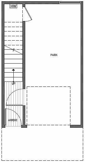 First Floor Plan of 1644E 20th Avenue in Avani Townhomes Located in Capitol Hill Seattle