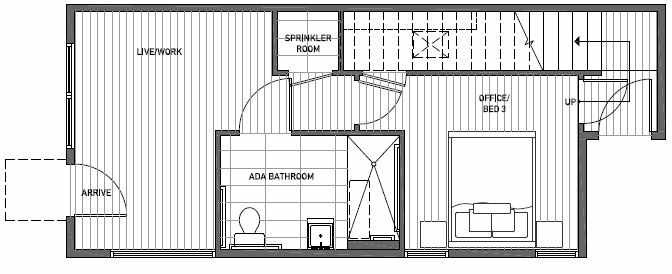 First Floor Plan of 1646 20th Avenue in Avani Townhomes Located in Central District Seattle