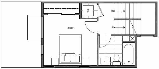 Fourth Floor Plan of 1646 20th Avenue in Avani Townhomes Located in Capitol Hill Seattle