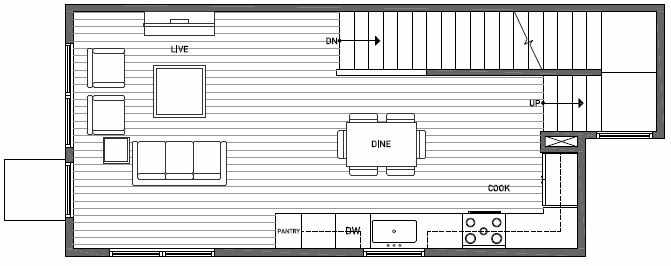 Second Floor Plan of 1646 20th Avenue in Avani Townhomes Located in Capitol Hill Seattle