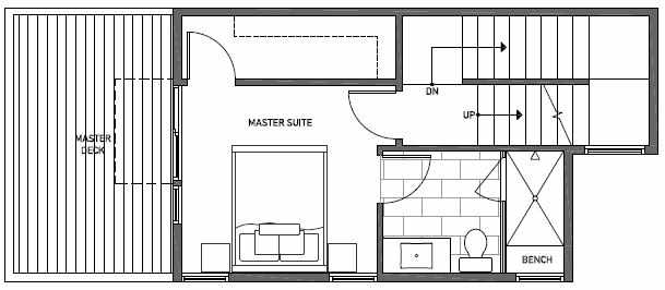 Third Floor Plan of 1646 20th Avenue in Avani Townhomes Located in Capitol Hill Seattle