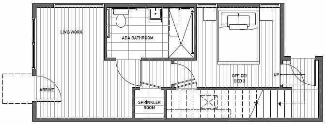 First Floor Plan of 1648 20th Avenue in Avani Townhomes Located in Central District Seattle