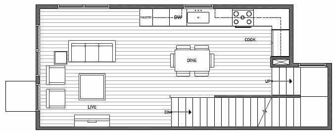 Second Floor Plan of 1648 20th Avenue in Avani Townhomes Located in Central District Seattle