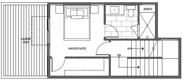 Third Floor Plan of 1648 20th Avenue in Avani Townhomes Located in Capitol Hill Seattle