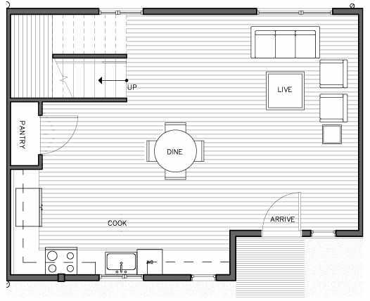 First Floor Plan of the Lian Floor Plan at The Trondheim in Crown Hill