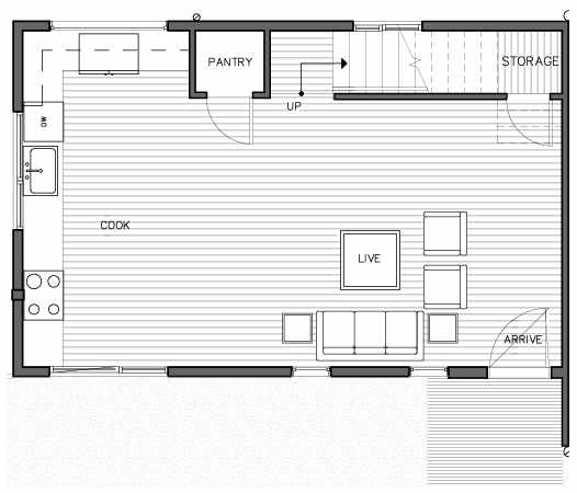 First Floor Plan of the Bymarka Floor Plan at The Trondheim in Crown Hill
