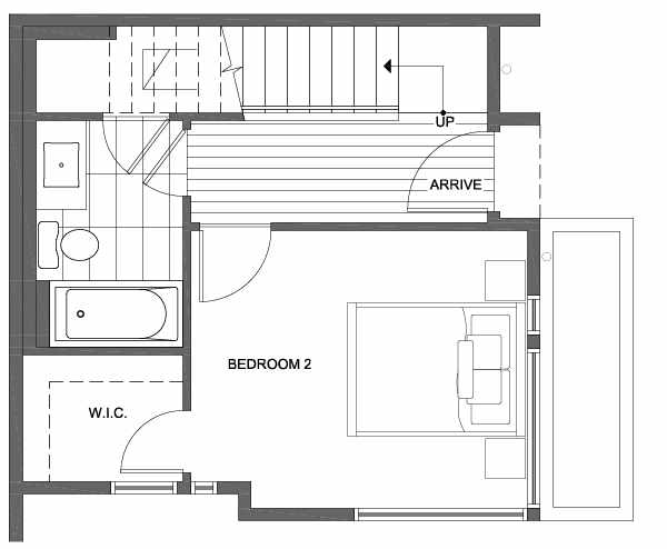 First Floor Plan of 1701 NW 62nd St of the Kai Townhomes in Ballard