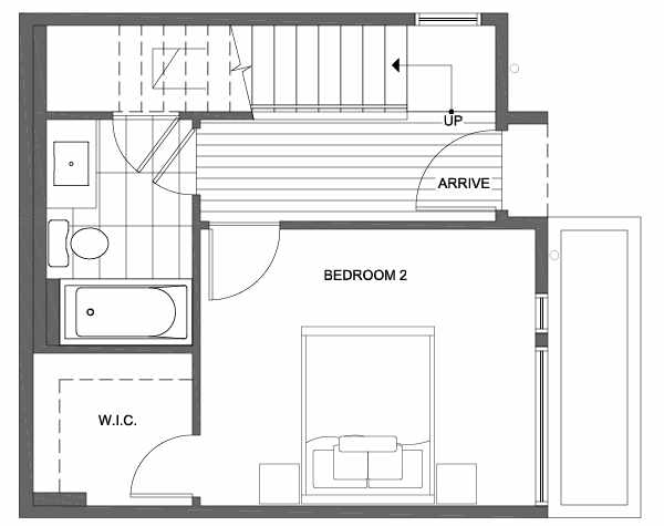 First Floor Plan of 1703 NW 62nd St of the Kai Townhomes in Ballard