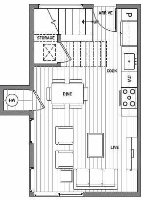 First Floor Plan of Centro Townhomes Unit 363C in Seattle by Isola Homes