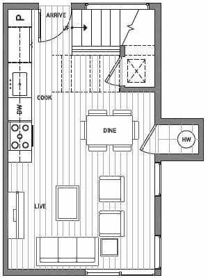 First Floor Plan of Centro Townhomes Unit 363D in Seattle by Isola Homes