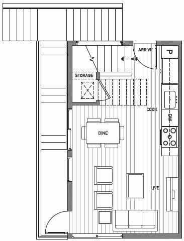 First Floor Plan of Centro Townhomes Unit 363A in Seattle by Isola Homes
