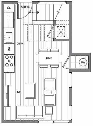 First Floor Plan of Centro Townhomes Unit 363B in Seattle by Isola Homes