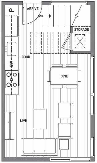 First Floor Plan of Centro Townhomes Unit 363F in Seattle by Isola Homes