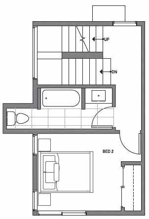 Second Floor Plan of Centro Townhomes Unit 363C in Seattle by Isola Homes